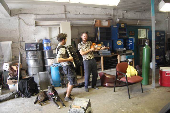 Playing for our bus mechanics -Miami, USA